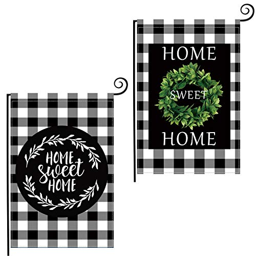 Coskaka Boxwood Wreath Welcome Home Sweet Home Garden Flag Vertical Double Sided, Buffalo Check Plaid Rustic Farmhouse Burlap Flag Yard Outdoor Decoration 12.5 x 18