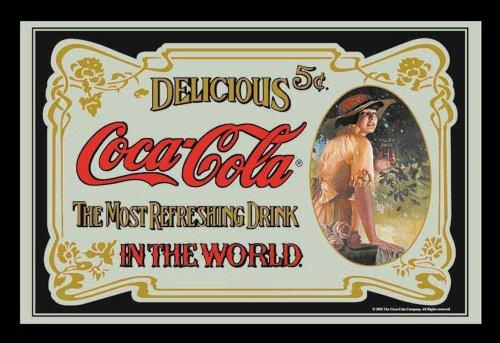 empireposter Coca Cola Retro - Bedruckter Spiegel mit Kunststoff Rahmen in Holzoptik, Kult-Spiegel - Größe 40x30 cm