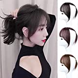 DeeThens Clip in Hair 3D Air Bangs Natural Black Straight Neat Straight Synthetic Hairpece Frings Bangs for Women (Natural Black)…
