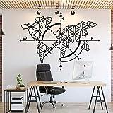 Calcomanía de pared con mapa del mundo para decoración de oficina, mapamundi de oficina, cita en equipo, motivación, negocios, decoración de pared, vinilo, 58 x 42 cm