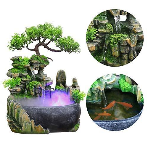 DEWIN Tischplattenbrunnen - Brunnen-Wasserfall mit der Farbe, die geführten Beleuchtung Zen Meditation Waterfall ändert