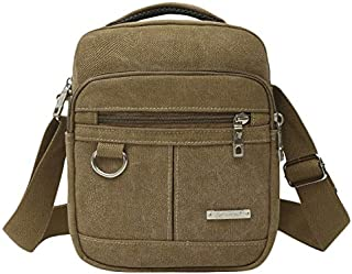 SODIAL Men Shoulder Bag Canvas Handbag for Male Messenger Bag Casual Travel School Bags Men Messenger Bags Khaki