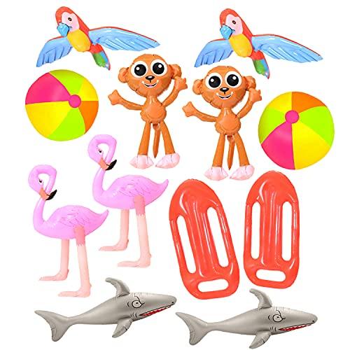 I LOVE FANCY DRESS LTD Juego inflable de verano – 2 bayas de playa, 2 flamencos, 2 loros, 2 monos, 2 tiburones, 2 flotadores de salvavidas – Decoración de fiesta de playa