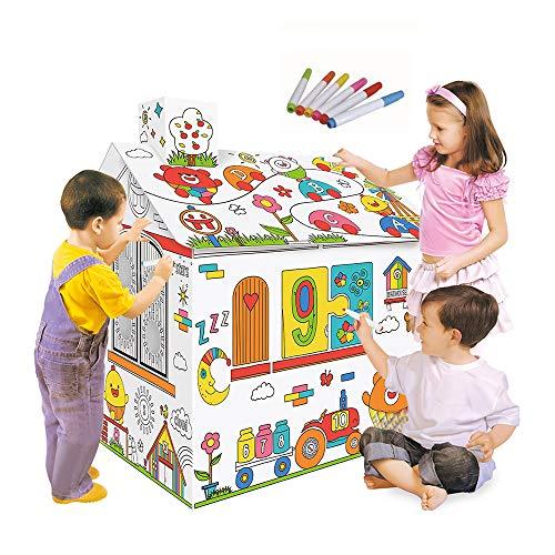Lebeaut DIY Große Pappe Färbung Kreatives Handwerk Spielhaus Projekt Montieren und Malen Lernspielzeug 2,2 Meter hoch Für Kinder Alter 2,3,4,5,6,7,8