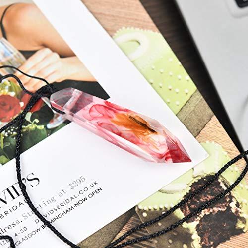 Changleqin - Collana con ciondolo in legno di resina e legno, stile retrò, idea regalo e Senza metallo, colore: Bianco + rosa., cod. 1db24c46e5600-3