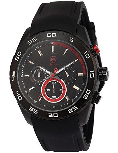 Spinner Shark Sport Quarz Uhren Armbanduhr Herren Echtes Leder Chronograph 24 Stunden Anzeige SH256