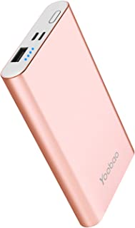 Yoobao Portable Charger Power Bank Apple & Micro Input 8000mAh Compact Powerbank External Cellphone Battery Backup Pack Compatible iPhone X 8 7 6 Plus Android Smartphone Samsung Galaxy etc- Rose Gold