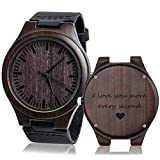 KOSTING Wood Watches for Men Black Leather Strap Wristwatches Genuine Leather Band with Gifts Box -...