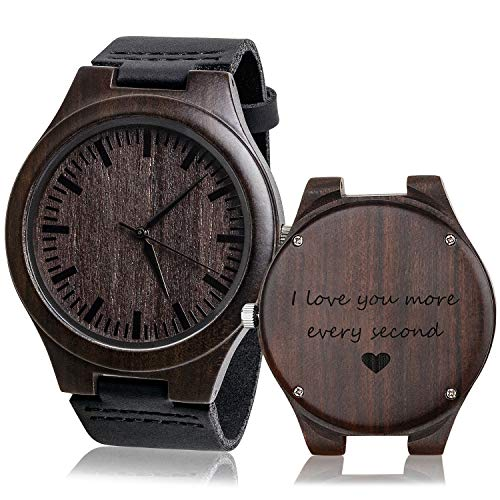 KOSTING Wood Watches for Men Black Leather Strap Wristwatches Genuine...