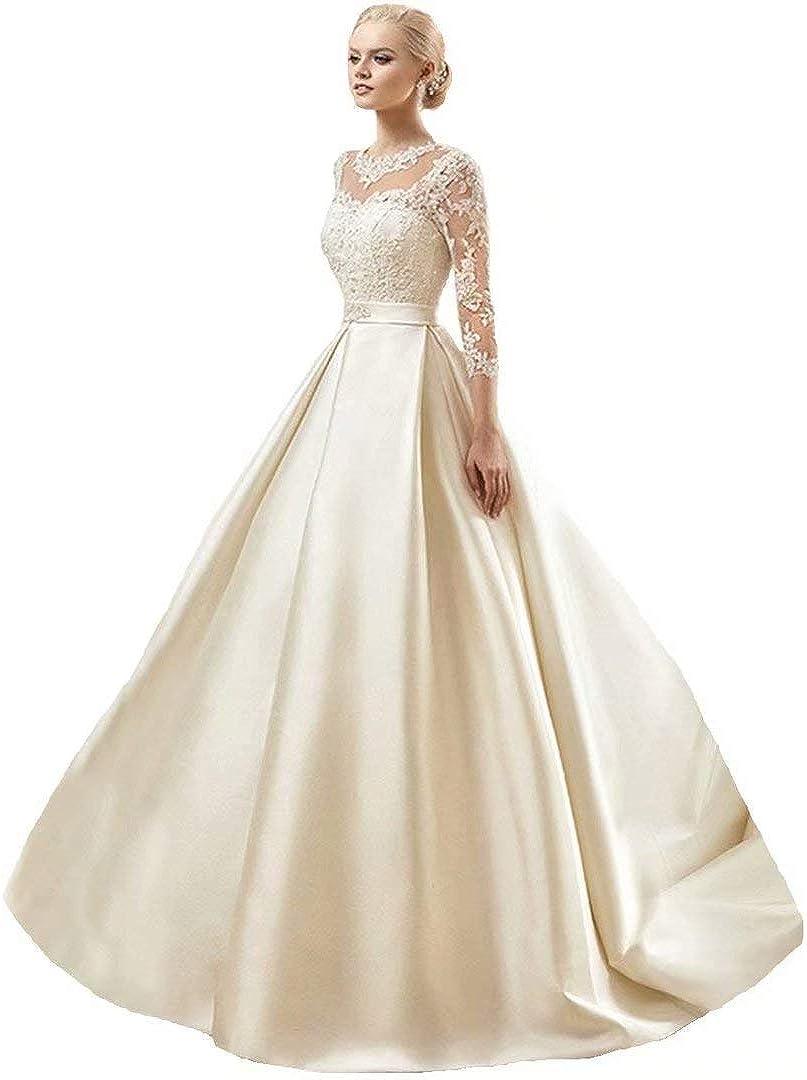 Dimei Lace Ball Gown Wedding Dresses Long Sleeve Princess Bridal Gowns  Satin Bride Dress