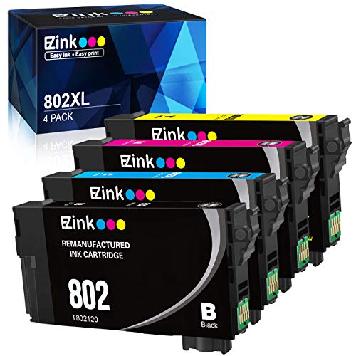 E-Z Ink (TM) Remanufactured Ink Cartridge Replacement for Epson 802XL 802 T802XL T802 to use with Workforce Pro WF-4740 WF-4730 WF-4720 WF-4734 (4 Pack)
