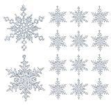 36 Stück Schneeflocken Weihnachten Deko Anhänger, Kunststoff Weihnachtsbaumschmuck Set Schneeflockendeko für Weihnachtsbaum Glitzer Christbaumschmuck Silber