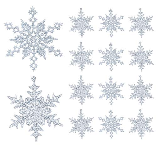 Ornamenti di Fiocco di Neve, Decorazioni Argento Glitter in Plastica dell'Albero per Natale, con Corda e Gancio di S, (36pcs, 10 X 10 cm)