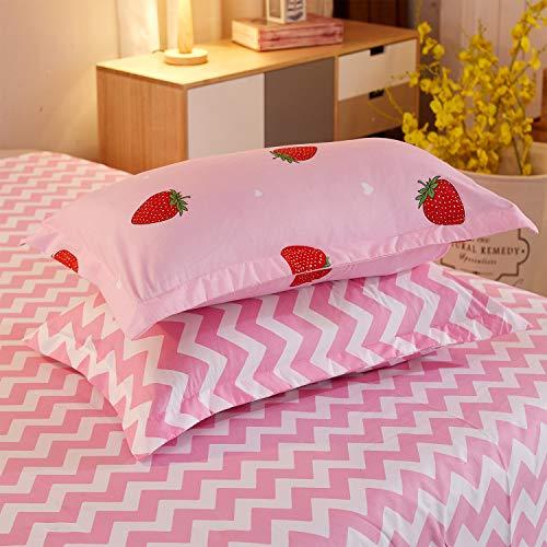 LAMEJOR Kawaii Strawberry Pink Duvet Cover Set...