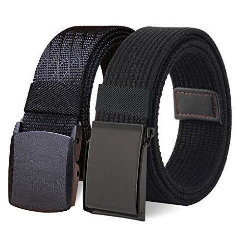 WYuZe 2 Pack Nylon Belt Outdoor Military Cotton Web Belt 1.5' Men Tactical Belt (waist-below 50', Flip-Top metal buckle/plastic buckle)