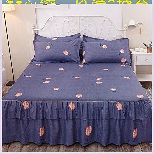 HNLHLY katoenen bedrok, bedhoes, lakens, beddengoed, driedelige bedovertrek (één bedovertrek en twee kussenslopen)
