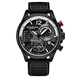 Stuhrling Original Mens Dress Watch - Aviator Watch with Leather Band Watches for Men with Date 24 Hour Subdial Chronograph Sports Watch (Black)