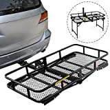 """Leader Accessories Hitch Cargo Carrier With Stand Foldable Cargo Basket 60"""" L x 24"""" W x 6"""" H with 500 LB Capacity Fits 2"""" Receiver"""