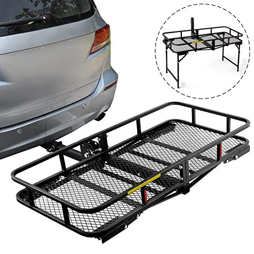 "Leader Accessories Hitch Cargo Carrier With Stand Foldable Cargo Basket 60"" L x 24"" W x 6"" H with 500 LB Capacity Fits 2"" Receiver"