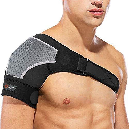 SPITZE FORGE Hombrera Ajustable, Neopreno Unisex Compatible con Paquete Frío/Caliente, para Prevención de Lesiones, Articulación CA Dislocada, Hombro Congelado,Dolor, (Derecha)