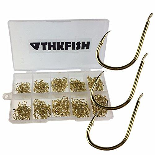 QualyQualy Angelhaken Kohlenstoffstahl Scharf Haken Angelhaken Set mit Kunststoff Box #3-#12 500 Stück (500 Stück Farbe Gold)