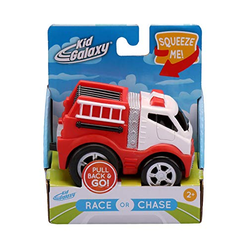 Kid Galaxy Squeezable Pull Back Fire Truck. Toddler Wind Up Toy Kids Age 2 and...