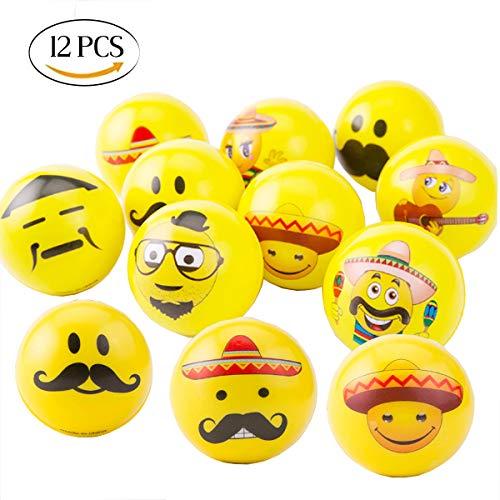 Mengger Stressball zum kneten Emoji Squeezy Bälle Smiley Antistressball Stresserleichterung für Kinder und Erwachsene 12 Stück Squishy Stressabbau Ball