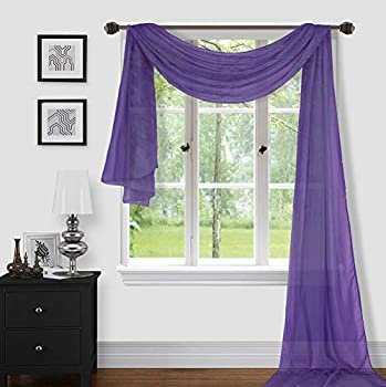 Sapphire Home 1pc Window Sheer Voile Scarf Valance Decorative Sheer Valance for Window Home Decor Solid Color Valance  54 x216   Purple