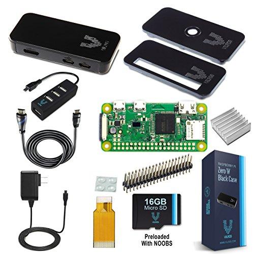 Raspberry Pi Zero W Starter-Set, Premium, schwarzes Gehäuse, inklusive Pi Zero W und 7 wesentliches Zubehör