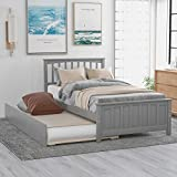 Harper & Bright Designs Twin Bed Frame with Trundle, Kids Platform Twin Bed with Pull Out Trundle,Solid Wood, No Box Spring Needed (Light Grey (Trundle))