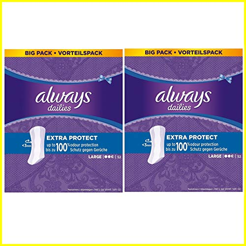 Always Dailies Panty Liners with Extra Protection - Large Pads - 2 x 52...