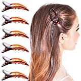 RC ROCHE ORNAMENT 6 Pcs Womens Classic Side Slide Jaw Flat No Slip Opening Eyelet Inner Teeth Alligator Hair Clip Barrette Beauty Accessory Premium Plastic Clamp Clips, Small Brown