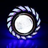 Motorcycle Hi/Low Beam LED Projector Headlight, Keenso Dual Halo Lens Angel Devil Eye Spot Lights (Blue Halo Ring)
