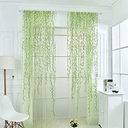 CLJ yangshil Gaddrt 1 Panel Window Curtain Willow Voile Tulle Room Sheer Voile Panel Drapes Curtain (Green: 100 200cm)