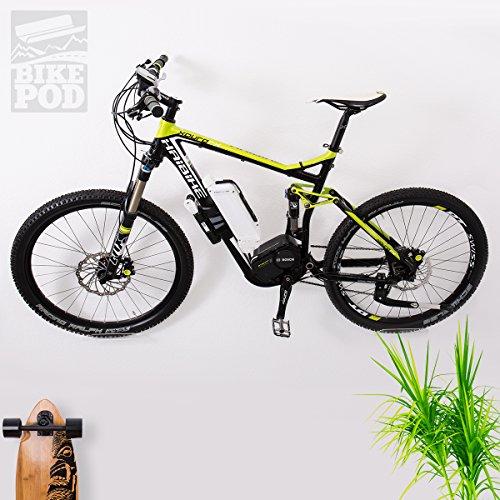 Motoking BIKEPOD PRO, Fahrrad Wandhalterung zur platzsparenden Fahrradaufbewahrung von E-Bikes, MTB, Rennrad, Pedelec, Wandhalter zur Wandmontage mit Befestigungsmaterial und Schutzaufklebern