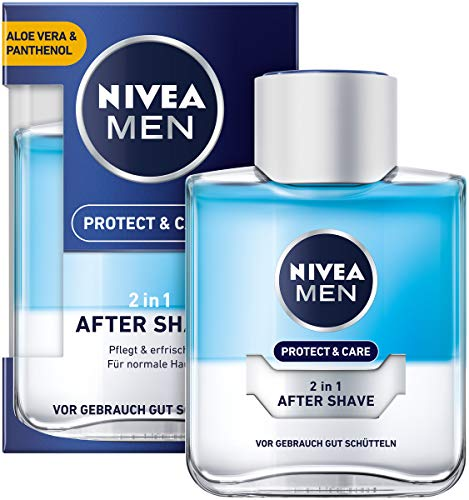 NIVEA MEN Protect & Care 2in1 After Shave im 4er Pack (4 x 100 ml), pflegendes und kühlendes After Shave, Hautpflege mit Aloe Vera und Panthenol