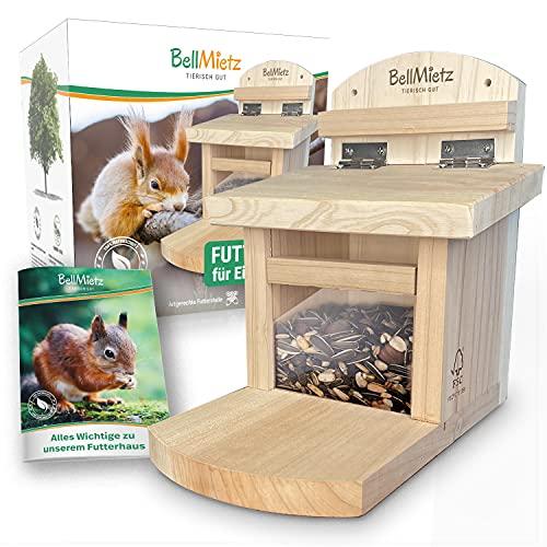 BellMietz® Preciosa casa para ardillas [extra segura y estable] | Casa para ardillas con innovador sistema de ventilación para comida seca | Comedero para ardillas de diseño probado