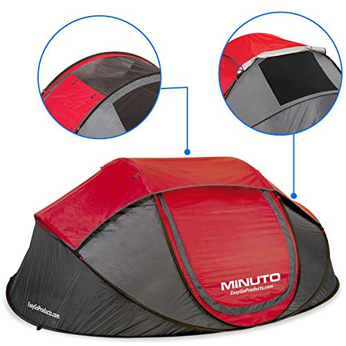 MINUTO Instant Setup Camping Tent - Family Size 3 to 4 Person Cabin Pop Up Dome Tent Waterproof Tents. Sets Up in Less Than 1 Minute.