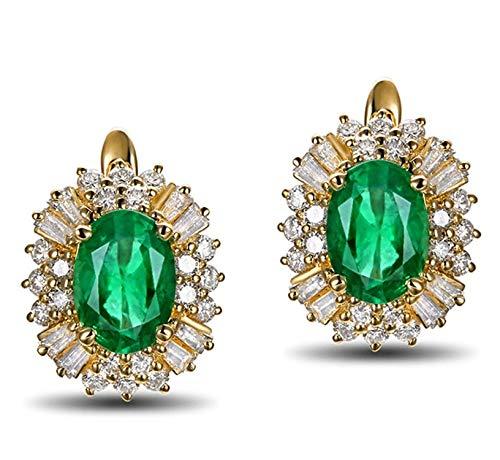 AMDXD 18 Karat Gold Damen Ohrringe Oval Damenohrring Abendschmuck Gold mit Weiß Grün Diamant Smaragd