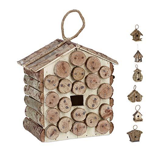 Relaxdays Casa para pájaros para Colgar, Madera Natural, Decoración de Exterior, Nido, 34x23,5x16 cm,1 Ud, Marrón