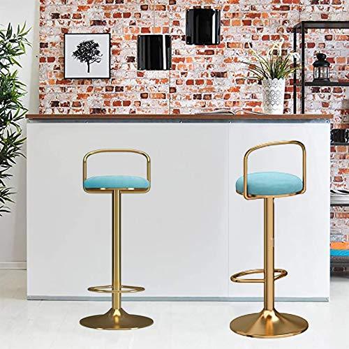 Taburetes de bar de altura ajustable de terciopelo moderno taburete de bar con asiento trasero extremadamente cómodo, 2/4 taburetes de desayuno (color: B1, tamaño: 2 piezas)