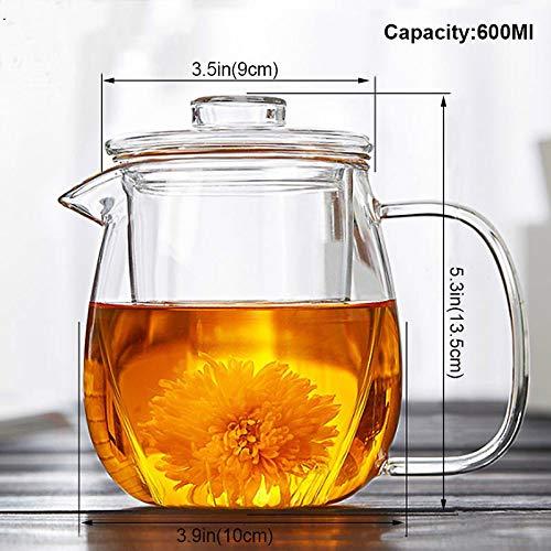 600 ml glazen theepot en cup, hittebestendig glas, theapot met filter poeder, theebloem, theapot-ketel