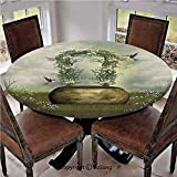 """Elastic Edged Polyester Fitted Table Cover,Fairytale Scene with Flowers Stone and Hummingbird Wildflower Arch Cloudy Sky,Fits up 40""""-44"""" Diameter Tables,The Ultimate Protection for Your Table,"""