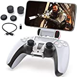 PS5 Phone Mount, Joso Controller Mobile Gaming Clip Holder Clamp for Sony Playstation 5 Dualsense Support iPhone, Android with PS Remote Play with OTG USB Type C & Micro USB Cable, 4 Thumb Grip Caps