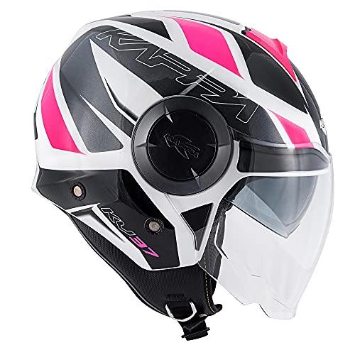 Motorradhelm Jethelm Kappa KV37 Oregon Ready wei� grau pink Gr��e S