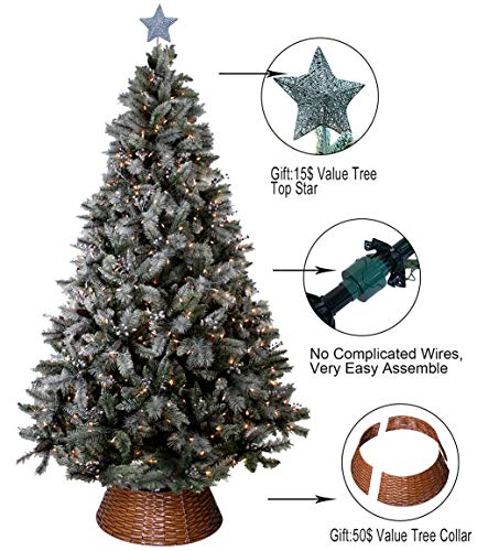 ABUSA Christmas Trees 9 ft Prelit Snowy Everest Needles Pine Cones and Berries Xmas Tree with 1000 LED Lights 2300 Branch Tips(New)