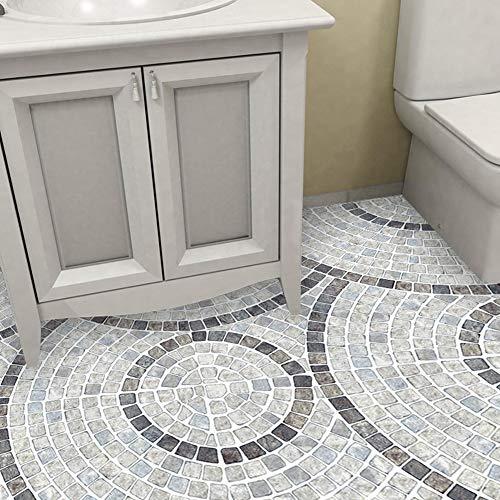 Oumefar 10 adhesivos extraíbles para el suelo, impermeables, duraderos, antiincrustantes, para decoración de baño, efecto visual, fácil de limpiar