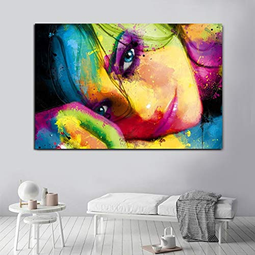 jiushice Rahmen Modern Girl Canvas ng Abstrakt Portrait Poster und Wandbilder für Wohnzimmer Quadro Home Decor 50x70cm