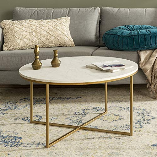 Walker Edison Cora Modern Round Faux Marble Top Coffee Table with X Base, 36 Inch, White Faux Marble and Gold