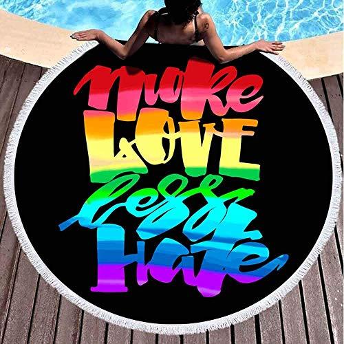 Nazi Mie Strandtuch Mehr Liebe Weniger Stolz Schriftzug Kalligraphisches Konzept Inspirierende Homosexualität Regenbogenfarbene Stranddecke